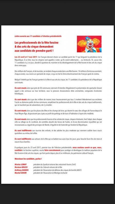 lettre des forains aux candidats  u00e0 la pr u00e9sidentielle
