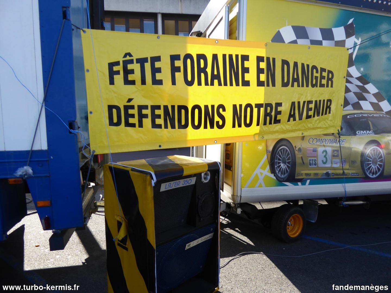 Manifestation des forains à Arpajon le 06/03/2021